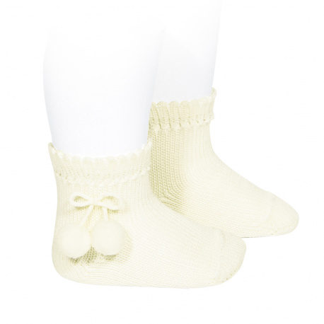 Perle short socks with pompoms BEIGE