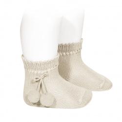 Calcetines cortos perlé con borlas LINO