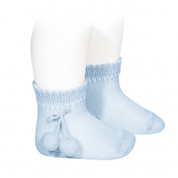 Perle short socks with pompoms BABY BLUE