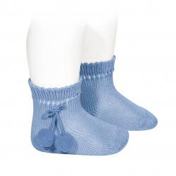 Perle short socks with pompoms BLUISH