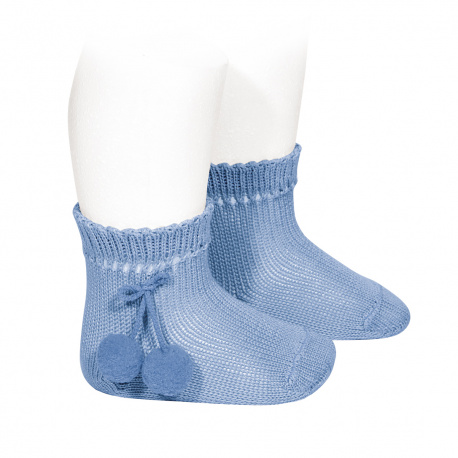 Calcetines cortos perlé con borlas AZULADO