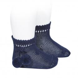 Chaussettes courtes coton avec pompoms BLEU MARINE