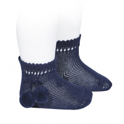 Perle short socks with pompoms NAVY BLUE
