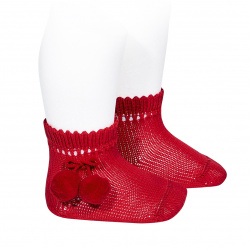 Perle short socks with pompoms RED