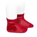 Calcetines cortos perlé con borlas ROJO