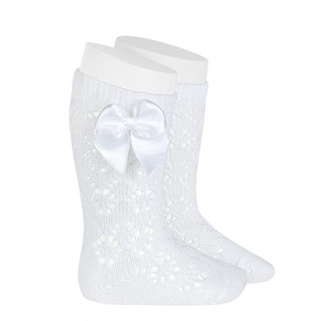 Perle geometric openwork knee high sockswith bow WHITE