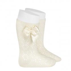 Perle geometric openwork knee high sockswith bow BEIGE