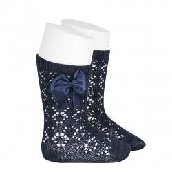 Perle geometric openwork knee high sockswith bow NAVY BLUE