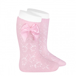 Perle geometric openwork knee high sockswith bow PINK