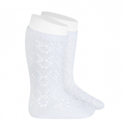 Chaussettes hautes coton ajourée géométrique BLANC