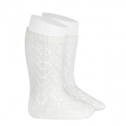 Chaussettes hautes coton ajourée géométrique CREME