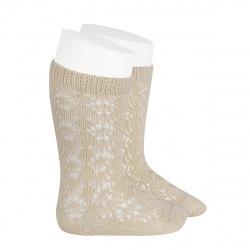 Perle geometric openwork knee high socks LINEN