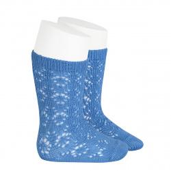 Perle geometric openwork knee high socks MAYAN