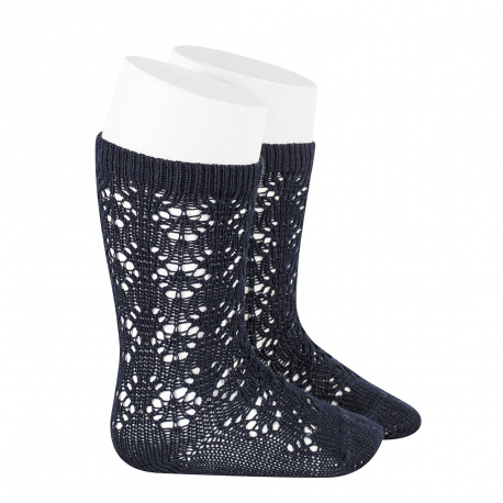 Chaussettes hautes coton ajourée géométrique BLEU MARINE