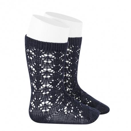 Perle geometric openwork knee high socks NAVY BLUE