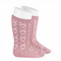Perle geometric openwork knee high socks PALE PINK