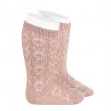 Perle geometric openwork knee high socks OLD ROSE