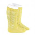 Perle geometric openwork knee high socks LIMONCELLO
