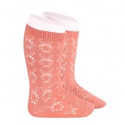 Chaussettes hautes coton ajourée géométrique PIVOINE