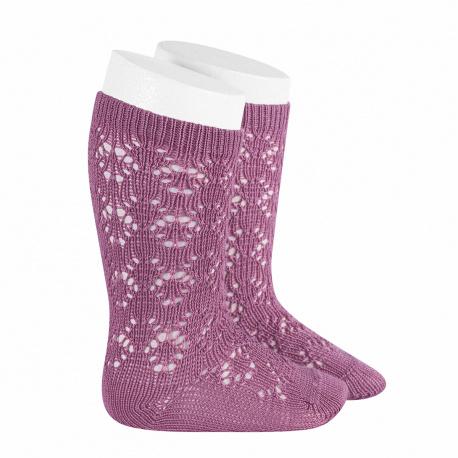 Perle geometric openwork knee high socks CASSIS