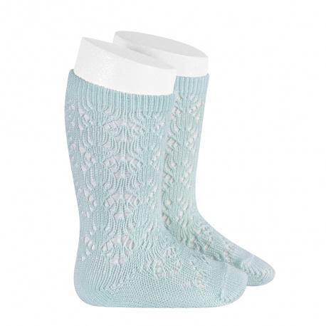 Chaussettes hautes coton ajourée géométrique AIGUE-MARINE