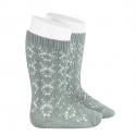 Perle geometric openwork knee high socks DRY GREEN