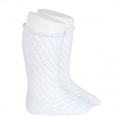 Net openwork perle knee high socks w/rolled cuff WHITE