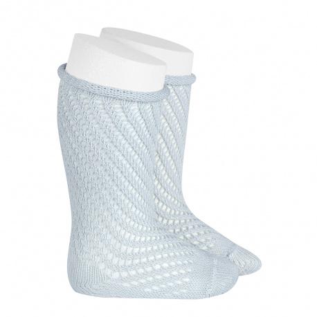 Net openwork perle knee high socks w/rolled cuff PEARLY