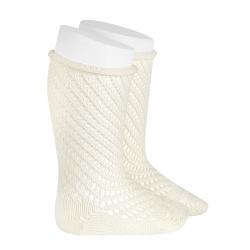 Net openwork perle knee high socks w/rolled cuff BEIGE