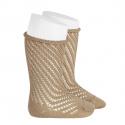 Net openwork perle knee high socks w/rolled cuff ROPE