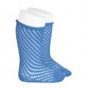 Net openwork perle knee high socks w/rolled cuff MAYAN