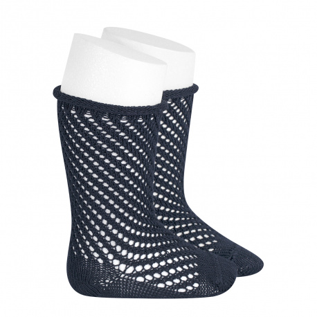 Net openwork perle knee high socks w/rolled cuff NAVY BLUE