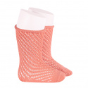 Net openwork perle knee high socks w/rolled cuff PEONY