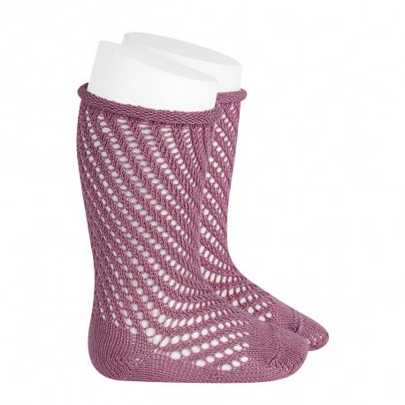 Net openwork perle knee high socks w/rolled cuff CASSIS