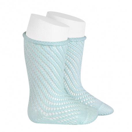 Chaussettes hautes coton ajouré filet AIGUE-MARINE