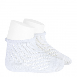 Net openwork perle short socks with rolled cuff WHITE