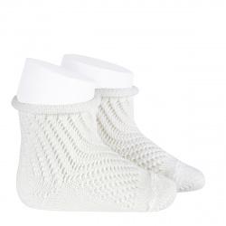 Net openwork perle short socks with rolled cuff CREAM