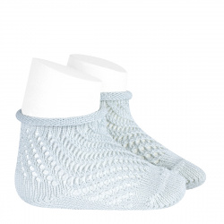 Net openwork perle short socks with rolled cuff PEARLY