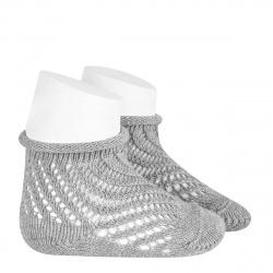 Net openwork perle short socks with rolled cuff ALUMINIUM
