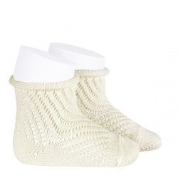 Net openwork perle short socks with rolled cuff BEIGE