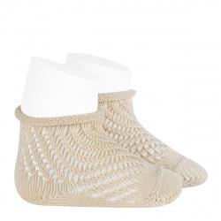 Net openwork perle short socks with rolled cuff LINEN