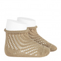 Net openwork perle short socks with rolled cuff ROPE