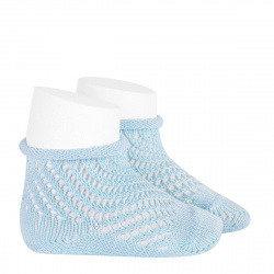 Net openwork perle short socks with rolled cuff BABY BLUE