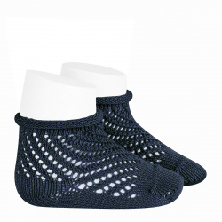 Net openwork perle short socks with rolled cuff NAVY BLUE