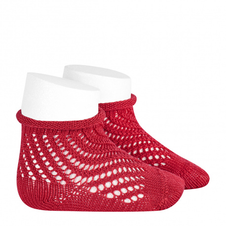 Net openwork perle short socks with rolled cuff RED
