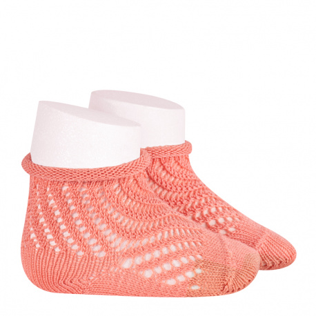 Net openwork perle short socks with rolled cuff PEONY