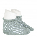 Net openwork perle short socks with rolled cuff DRY GREEN