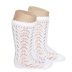 Calcetines altos algodón calado BLANCO