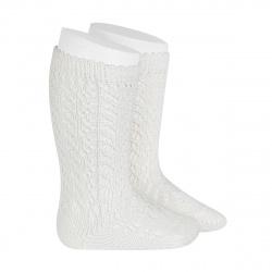 Cotton openwork knee-high socks CREAM