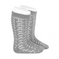 Cotton openwork knee-high socks ALUMINIUM